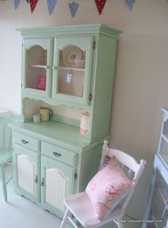 Restyled Vintage: Furniture Makeover: Vintage Green Kitchen Dresser