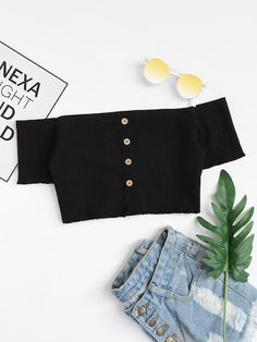 Shop Off Shoulder Single Breasted Crop Tee online. SheIn offers Off Shoulder Single Breasted Crop Tee & more to fit your fashionable needs. Mode Outfits, Urban Outfits, Trendy Outfits, Girl Outfits, Summer Outfits, Fashion Outfits, Fashion Trends, Fashion Styles, Trendy Clothing