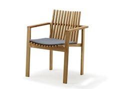 Chaise de jardin empilable en teck avec accoudoirs AMAZE | Chaise de jardin - Cane-line