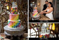 Colourful three tiered cake by Charly's Bakery Cake Cupcake Cakes, Cupcakes, Rainbow Wedding, Amazing Weddings, Bakery Cakes, Something Old, Yummy Cakes, Wedding Couples, Wedding Inspiration