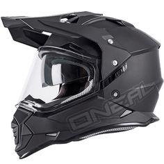 ONeal Sierra 2 Adventure Helmet - Flat Black Dirt Bike Gear, Dirt Bikes, Triumph Motorcycles, Oneal Motocross, Black Motorcycle Helmet, Carbon Fiber Helmets, Futuristic Helmet, Ducati, Motorcycle Helmets