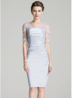 Sheath/Column Scoop Neck Knee-Length Ruffle Appliques Lace Zipper Up Sleeves 1/2 Sleeves Yes Other Colors General Plus Satin Mother of the Bride Dress