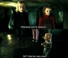 Luna and Dobby in Malfoy Manor