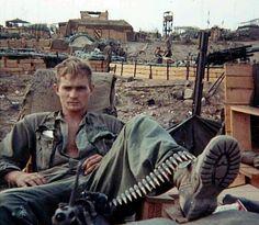 "vietnamwarera: ""Duane Baumgardner, M60 machine gunner of Delta 1/5, 1st Cavalry Division, 1969. """