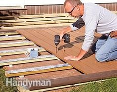 Is your old concrete patio an eyesore? You can avoid the cost and mess of tearing it out by just screwing down wood sleepers and decking over it.