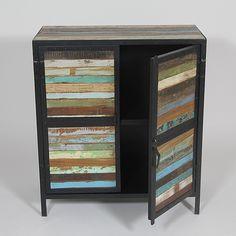 Buffet industriel bois et metal 2 portes -Bois colores