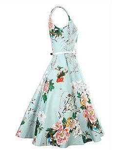 Women's Party/Cocktail Vintage A Line Dress,Floral Round Neck Midi Sleeveless Blue Cotton Summer 4961758 2016 – $12.99