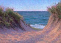 June Cape Cod Beach Path Pastel Painting by Poucher, painting by artist Nancy Poucher. I have a picture of something very similiar. Cape Cod Beaches, Painted Rocks Kids, Rock Painting Ideas Easy, Pastel Art, Pastel Paintings, Daily Painters, Beach Art, Beach Pictures, Stone Art