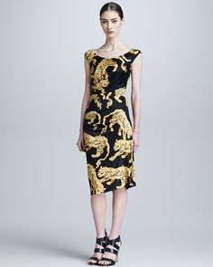 Versace Collection Tiger Baroque Print Ruched Dress - Neiman Marcus