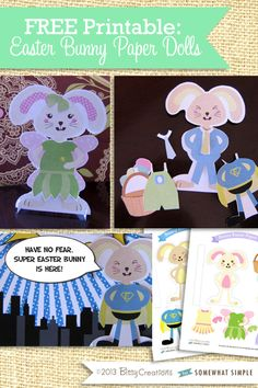 FREE Easter Bunny Paper Doll Printable at Somewhat Simple