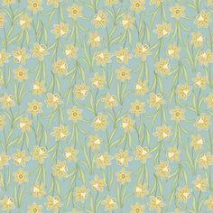 Lewis & Irene Flo's Little Flowers Daffodils on Duck Egg Blue Fabric   sewandso