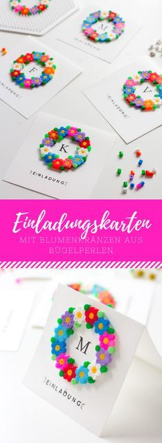 Einladungskarten oder Grußkarten mit Bügelperlen Invitation cards, place cards, name cards or greeting cards with flower wreaths made of ironing beads or Hama beads. The perfect, quick DIY for spring or summer! Pearler Beads, Fuse Beads, Bead Crafts, Diy And Crafts, Diy For Kids, Crafts For Kids, 8bit Art, Iron Beads, Name Cards