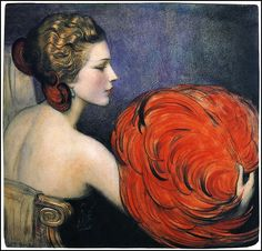 W.T BENDA-BLONDE girl with earrings FINE ARTS POSTER 1924 24X36 painting