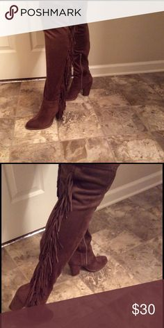Just Fab Over the Knee Boot Faux suede with side zipper and full fringe down back. JustFab Shoes Over the Knee Boots