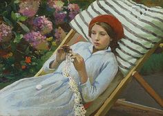 Girl with a Red Hat - Harold Harvey (British, 1874-1921) Newlyn School