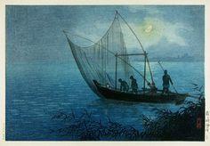 Fishing at Morigaseki  by Tsuchiya Koitsu, 1930