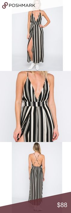 """🆕Tory Black Cream & Tan Striped Deep V Jumpsuit New Boutique Item. The Tory Jumpsuit features: a gorgeous open back with criss cross detailing  stripe print in black, cream, + tan a deep v neckline built in shorts lining elastic in the back waistline and side slits Model wears a small and is 5'9, Bust 34"""", Waist 24"""" , Hips 36.5"""" Material: 100% Poly, Lining: Rayon Recommended Sizing: S 0-4, M 6-8, L 10-12 Length: Approx 54"""", Inseam: 37"""" (measured from small) Color: Black, Cream, Tan Cute…"""