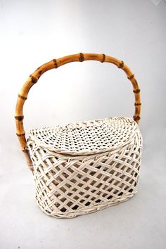 Vintage 50s wicker basket bamboo handbag
