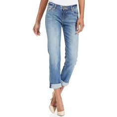 Kut from the Kloth Catherine Boyfriend Straight-Leg Cuffed Jeans... (€83) ❤ liked on Polyvore featuring jeans, fervent, blue jeans, skinny jeans, super skinny jeans, slouch skinny jeans and slouchy skinny jeans