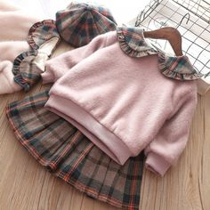 New Baby Winter Autumn Girl Garment Plaid Plush Long Sleeve Sweater Pullover Skirt Two Piece Children Clothing Suit Outwear Suit Baby Outfits, Kids Outfits, New Baby Dress, Baby Girl Winter, Autumn Girl, Fall Baby, Summer Baby, Kids Fashion, Baby Girl Fashion