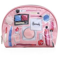 Harrods Make-Up and Brushes Cosmetics Bag (28 AUD) ❤ liked on Polyvore featuring bags, accessories, beauty, clutches, pvc bag, pink bag and harrods bag