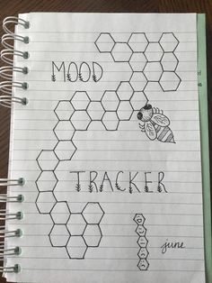 Bee hexagon June bullet journal mood tracker.