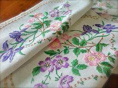 Hand Embroidered Iris & Wild Rose Vintage by GardenOfCrinoline