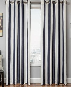 Shop for Softline Sunbrella Cabana Stripe Indoor/Outdoor Curtain Panel. Get free delivery On EVERYTHING* Overstock - Your Online Garden & Patio Store! Drapery Panels, Window Panels, Window Coverings, Panel Curtains, Window Treatments, Striped Curtains, White Curtains, Sunbrella Outdoor Curtains, Patio Store