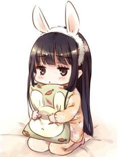 Kawaii Chibi Little Anime Girl Gifs Kawaii, Art Kawaii, Loli Kawaii, Kawaii Chibi, Chibi Bunny, Kawaii Room, Cute Anime Chibi, Anime Girl Cute, Kawaii Anime Girl