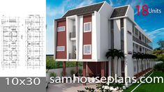 Apartment Plans with 18 UnitsThe House has:-Car Parking and garden-Living room,-Dining Bedrooms units Bed units House Layout Plans, New House Plans, Modern House Plans, House Layouts, House Floor Plans, Plans Architecture, Interior Architecture, New Home Designs, Home Design Plans