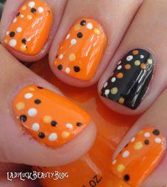 polka dots, orang, fall nails, candy corn, nail art ideas