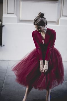 V-neck plunging gown Long sleeve dress Burgundy tulle tea-length evening dress from Handmade Dress Tulle Dress, Dress Skirt, Dress Up, Tulle Skirts, Tulle Skirt Outfits, Trendy Taste, Prom Dresses, Glamour, Fashion Outfits