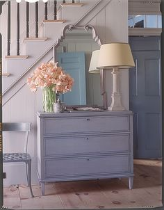 Love this dresser & lamp combo - wish I could do something similar w/our entryway but the outlets are in all the wrong places for a lamp....