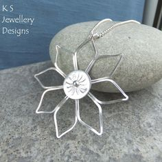 Big Daisy - Sterling Silver Wire Flower Pendant - Metalwork Wirework Handmade £46.00