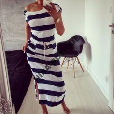 Wloska Sukienka Dresowa Paski Marina Maxi 6190448819 Oficjalne Archiwum Allegro Style