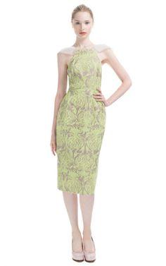Honor Neon Orchid Print Micro Sparkle Cap Sleeve Slim Dress SS 2013