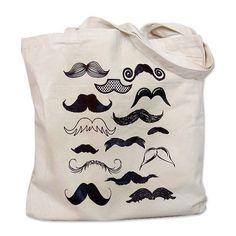Mustache Collection Tote Bag via Polyvore