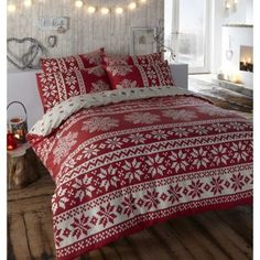 SNOWFLAKE BRUSHED COTTON DOUBLE BED DUVET QUILT COVER BEDDING SET INNSBRUCK RED in Home, Furniture & DIY | eBay