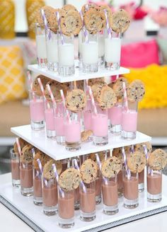 Fabulous Food Bars for Entertaining A milk & cookies bar is a great wedding reception idea or even for a kid's birthday party.A milk & cookies bar is a great wedding reception idea or even for a kid's birthday party. Party Food Bars, Bar Food, Snack Bar, Milk Cookies, Chip Cookies, Bar Cookies, Partys, 16th Birthday, Birthday Bar