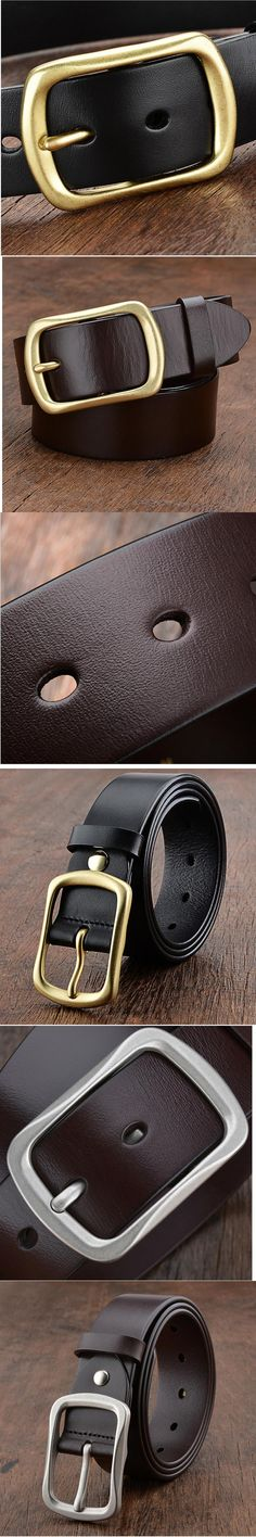 100% Top Cow Genuine Leather Mens Belt Brand Waistband For Men Cowboy Cowhide Strap Gift cupreous buckle Belts cinturon hombre