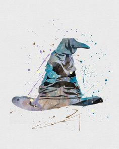 Harry Potter Sorting Hat Watercolor Art -So cool! I want a hat that looks like the Sorting Hat. Magie Harry Potter, Arte Do Harry Potter, Theme Harry Potter, Harry Potter Love, Harry Potter Universal, Harry Potter Fandom, Harry Potter World, Hogwarts Sorting Hat, Harry Potter Sorting Hat
