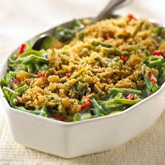 Frozen green beans, canned soup, and store-bought bread crumbs equal a delicious green bean casserole that is super easy and perfect for busy holidays. It's no wonder this is one of our top-rated Thanksgiving recipes! Healthy Green Bean Casserole, Healthy Green Beans, Side Recipes, Great Recipes, Healthy Recipes, Favorite Recipes, Healthy Foods, Healthy Yogurt, Healthy Eating