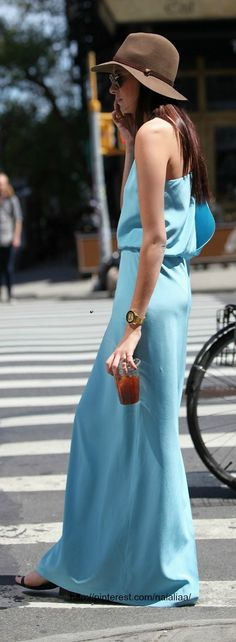 Street stylePale Blue Maxi Halter Dress With Synched Waist and a Great Summer Hat.