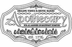 Embroidery Designs at Urban Threads - Apothecary Sign Diy Embroidery, Vintage Embroidery, Embroidery Stitches, Embroidery Patterns, Stitch Patterns, Printable Adult Coloring Pages, Coloring Book Pages, Coloring Sheets, Apothecary Decor