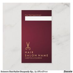 Shop Scissors HairStylist Burgundy Appointment Vertical Business Card created by AffordPrint. Burgundy Hair, Burgundy Wine, Hair Salon Names, Small Cafe Design, Vertical Business Cards, Hair Toner, Hair Specialist, Beauty Salon Interior, Stained Concrete