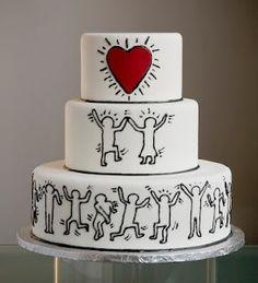 Torta nuziale Pop! Questo è un tema molto particolare: le decorazioni che rimandano immediatamente a Keith Haring, uno dei maggiori interpreti della Pop Art a cavallo fra gli anni '80 e gli anni '90, sono perfette per una sposa hipster, un po' nostalgica e un po' moderna.