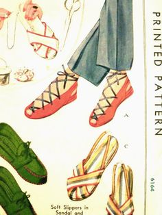 Vintage Sewing Pattern McCall 993 Soft Slippers in Sandal ...