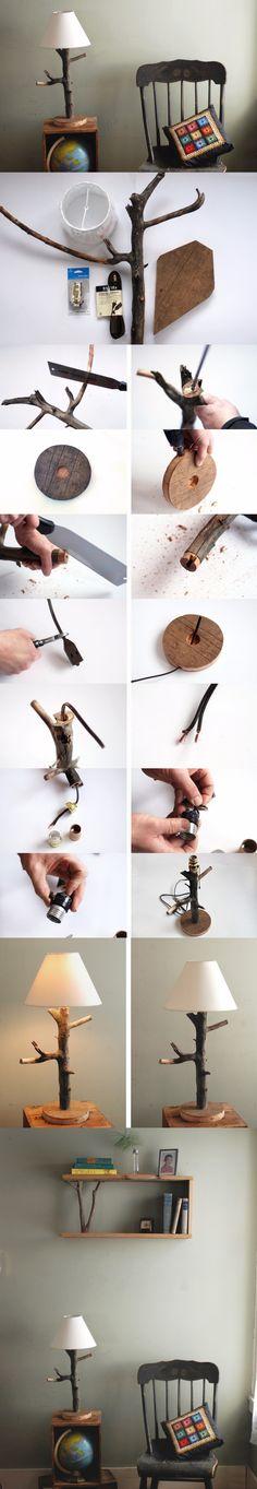 Lámpara rústica realizada con la rama de un árbol