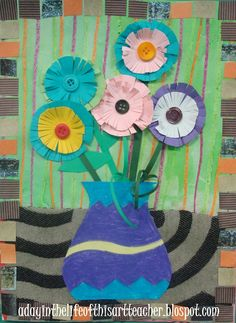 Flower and Vase Collage:  A day in the life of this art teacher