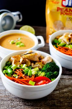 Chicken Veggie Quinoa Bowl with Spicy Peanut Sauce from @wendypolisi